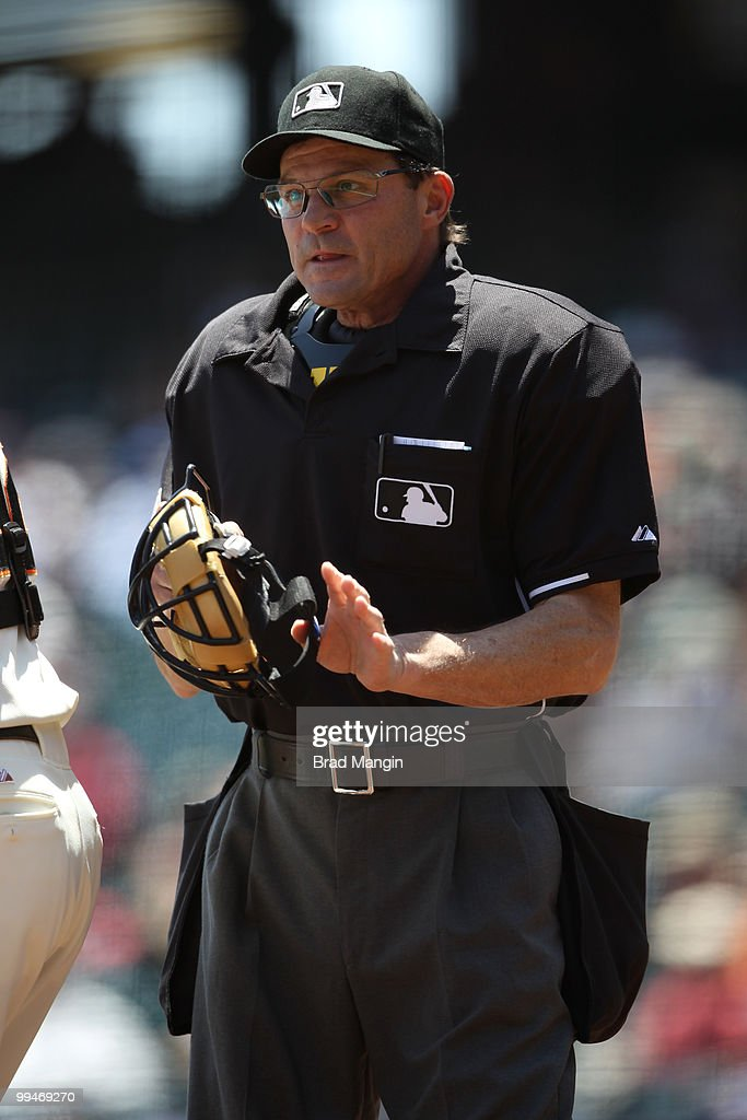 Home plate umpire Bill Hohn works during the game between the San Diego Padres and the San Francisco Giants on Thursday, May 13, 2010, at AT&T Park in San Francisco, California. The Padres defeated the Giants 1-0.