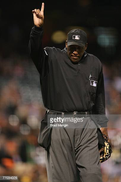 Home plate umpire Chuck Meriwether makes a call during the game at ATT Park in San Francisco California on September 12 2007 The Diamondbacks...