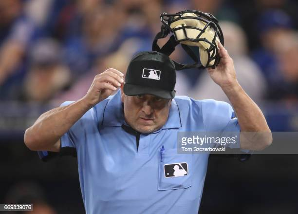 Home plate umpire Dale Scott during the Toronto Blue Jays MLB game against the Baltimore Orioles at Rogers Centre on April 14 2017 in Toronto Canada
