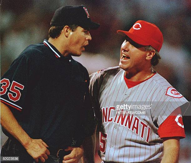 Home plate umpire Gary Darling argues with Cincinnati Reds Manager Ray Knight over a call at home plate in the sixth inning of their game in St Louis...