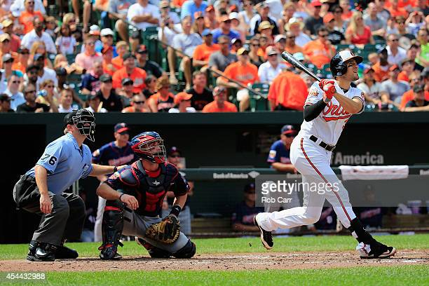 Home plate umpire Mike Muchlinski and catcher Eric Fryer of the Minnesota Twins look on as Ryan Flaherty of the Baltimore Orioles follows his three...