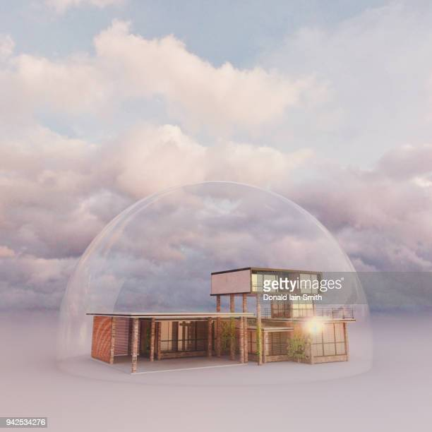 Home protected by transparent dome
