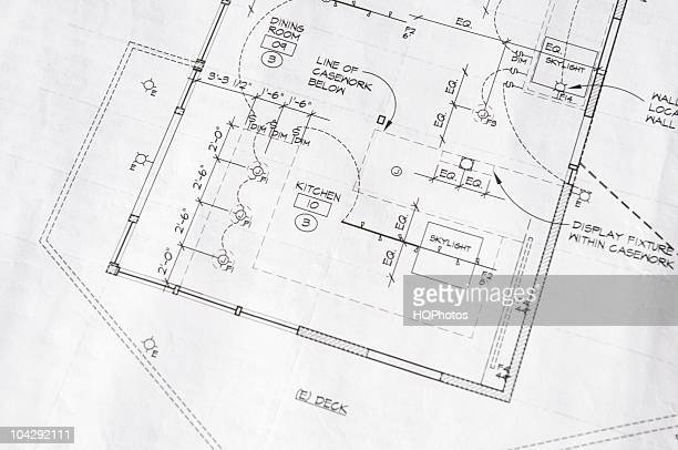 home remodel blueprint of a kitchen's electrical plan - sketch stock pictures, royalty-free photos & images