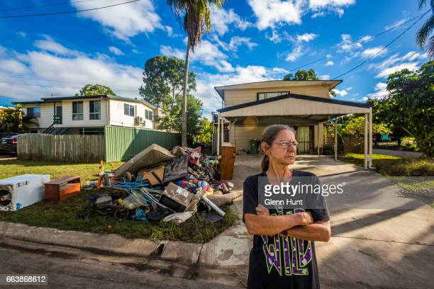 Home renter Charne Harris poses for a photograph at her flood damaged home on April 3 2017 in Beenleigh Australia Heavy rain caused flash flooding...