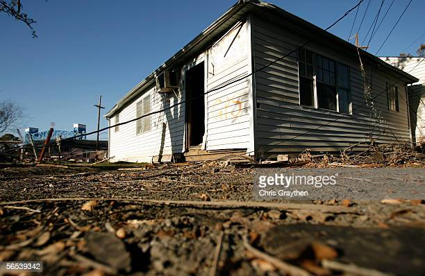 A home rests in the middle of the street after it was pushed by the flood waters of Hurricane Katrina January 7 2006 in New Orleans Louisiana The New...