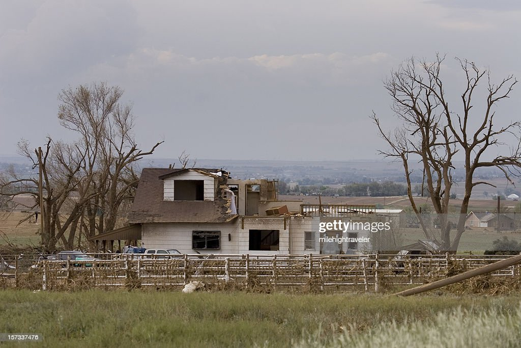 Home ripped in half by tornado outside Windsor, Colorado : Stock Photo