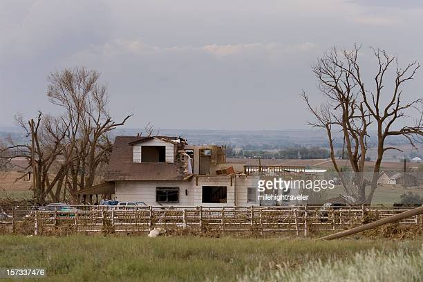 home ripped in half by tornado outside windsor, colorado - greeley colorado stock photos and pictures