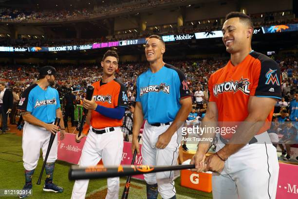 Home Run Derby participants Mike Moustakas of the Kansas City Royals Cody Bellinger of the Los Angeles Dodgers Aaron Judge of the New York Yankees...