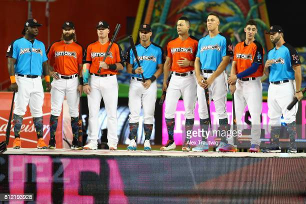 Home Run Derby participants pose for a photo prior to the 2017 TMobile Home Run Derby at Marlins Park on Monday July 10 2017 in Miami Florida