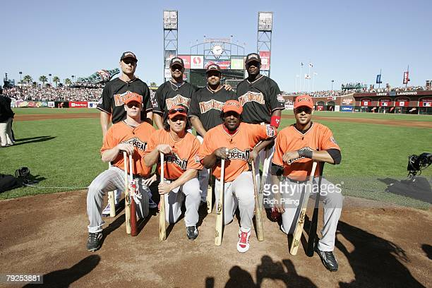 Home Run Derby participants pose together before the Home Run Derby at ATT Park in San Francisco California on July 9 2007