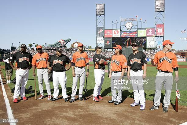Home Run Derby participants stand together on field before the Home Run Derby at ATT Park in San Francisco California on July 9 2007