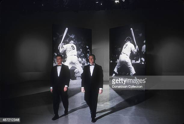 Home run kings Mickey Mantle and Roger Maris perform on Perry Como's Kraft Music Hall in Octoi=ber 1961 in New York City New York