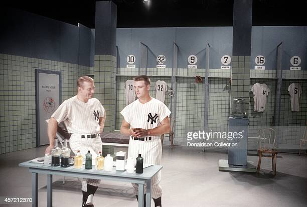 Home run kings Mickey Mantle and Roger Maris perform on Perry Como's Kraft Music Hall in October 1961 in New York City New York