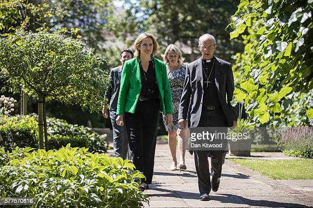 Home Secretary Amber Rudd and The Archbishop of Canterbury Justin Welby arrive to speak to members of the Press on July 19 2016 in London England The...