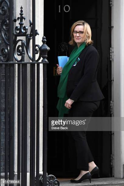 Home Secretary Amber Rudd arrives as government ministers attend the weekly Cabinet meeting at 10 Downing Street London England on February 06 2018...