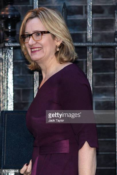 Home Secretary Amber Rudd arrives for a meeting at Downing Street on November 20 2017 in London England British Prime Minister Theresa May is...