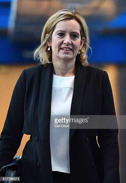 Home Secretary Amber Rudd arrives for the fourth day of the Conservative Party Conference 2016 at the ICC Birmingham on October 5 2016 in Birmingham...