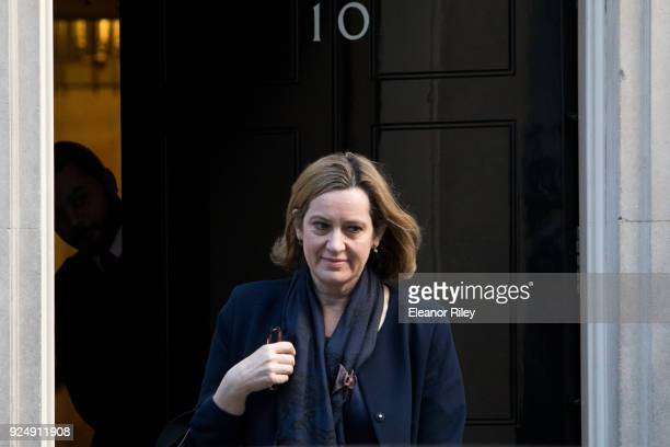 Home Secretary Amber Rudd arrives on Downing Street for the weekly cabinet meeting on February 27 2018 in London England