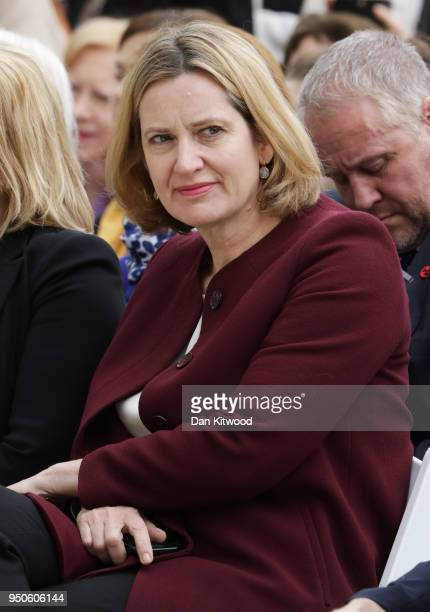 Home Secretary Amber Rudd attends the official unveiling of a statue in honour of the first female Suffragist Millicent Fawcett in Parliament Square...