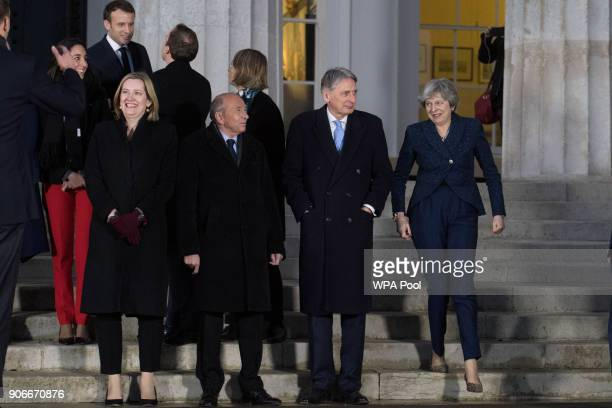Home Secretary Amber Rudd Chancellor Philip Hammond Prime Minister Theresa May and French President Emmanuel Macron attend a 'family photograph at...