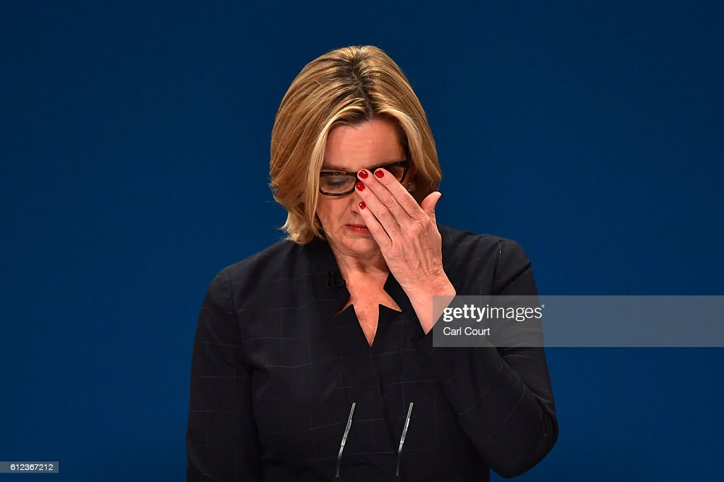 Home Secretary, Amber Rudd, delivers a her first speech as Home Secretary on the third day of the Conservative Party Conference 2016 at the International Conference Centre on October 4, 2016 in Birmingham, England. Ministers and senior Party members will address delegates throughout the day with a number of speeches discussing 'a society that works for everyone'.