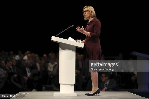 Home Secretary Amber Rudd delivers her keynote speech on the third day of the Conservative Party annual conference at the Manchester Central...