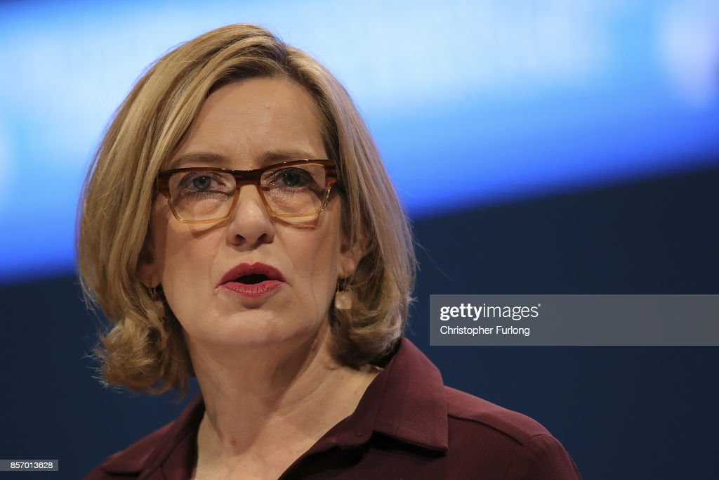 Home Secretary Amber Rudd delivers her keynote speech on the third day of the Conservative Party annual conference at the Manchester Central Convention Centre in Manchester on October 3, 2017 in Manchester, England. Foreign Secretary Boris Johnson is due to make his keynote conference speech later today amid widespread speculation of a leadership challenge.