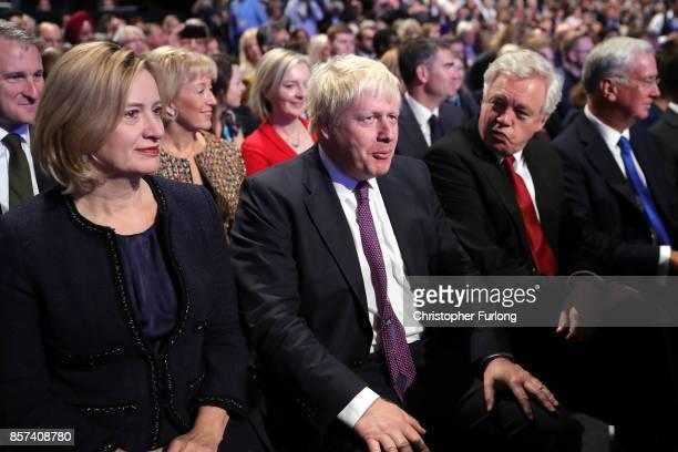 Home Secretary Amber Rudd Foreign Secretary Boris Johnson Brexit Secretary David Davis and Defence Secretary Michael Fallon await the arrival of...