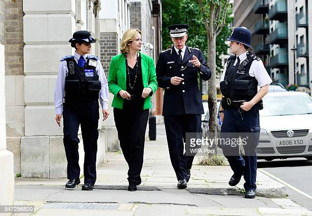 Home Secretary Amber Rudd joins a police patrol with Metropolitan Police Commissioner Sir Bernard HoganHowe in Westminster on her first day as one of...