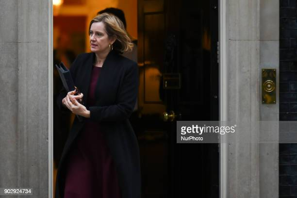 Home Secretary Amber Rudd leaves 10 Downing Street after after attending the first Cabinet meeting of the year London on January 9 2018 Prime...