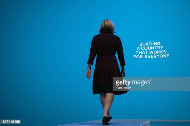 Home Secretary Amber Rudd leaves after delivering her keynote speech on day three of the Conservative Party Conference at Manchester Central on...