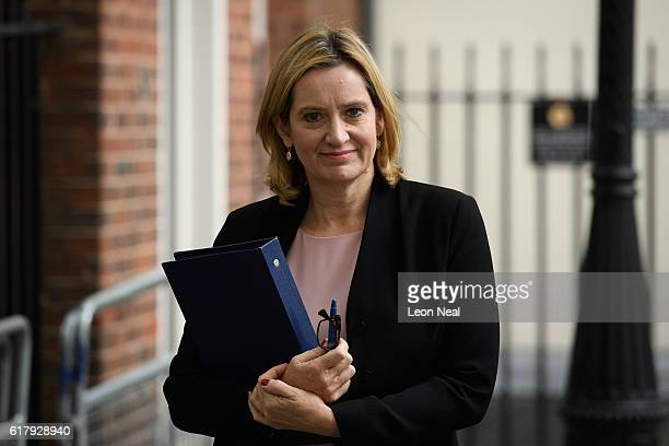 Home Secretary Amber Rudd leaves Downing Street following a Cabinet meeting on October 25 2016 in London England The meeting came as the government...