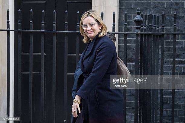 Home Secretary Amber Rudd leaves following a Cabinet meeting at 10 Downing Street on November 29 2016 in London England The government has been...