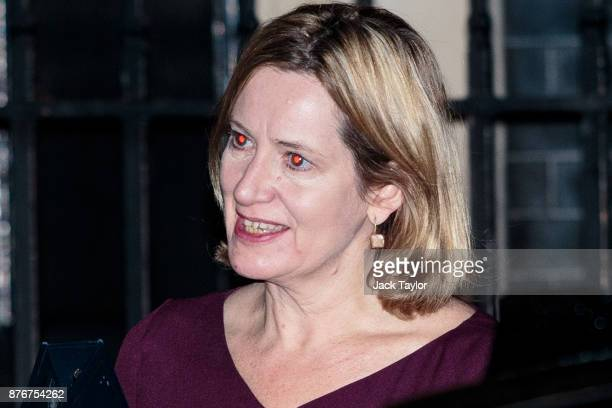 Home Secretary Amber Rudd leaves following a meeting at Downing Street on November 20 2017 in London England British Prime Minister Theresa May has...