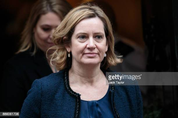 Home Secretary Amber Rudd leaves following the weekly cabinet meeting at Downing Street on December 5 2017 in London England British Prime Minister...