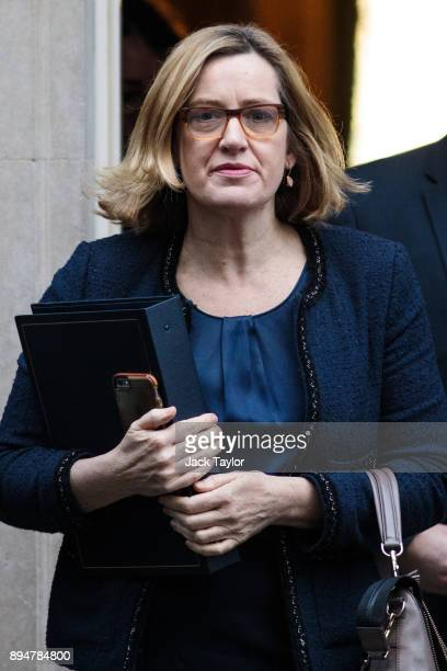 Home Secretary Amber Rudd leaves Number 10 Downing Street following a cabinet meeting on December 18 2017 in London England British Prime Minister...