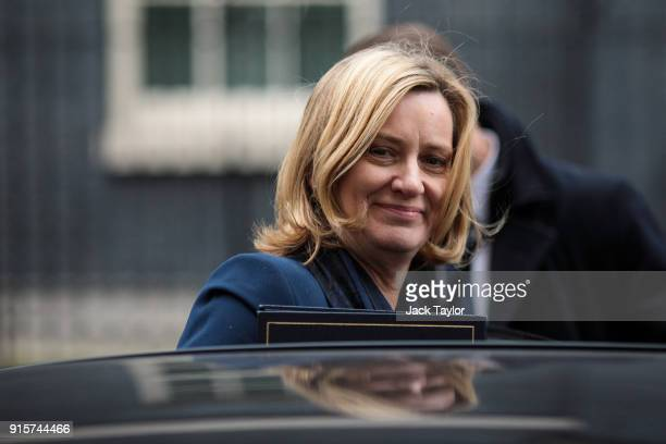 Home Secretary Amber Rudd leaves Number 10 Downing Street following a Brexit subcommittee meeting on February 8 2018 in London England British Prime...