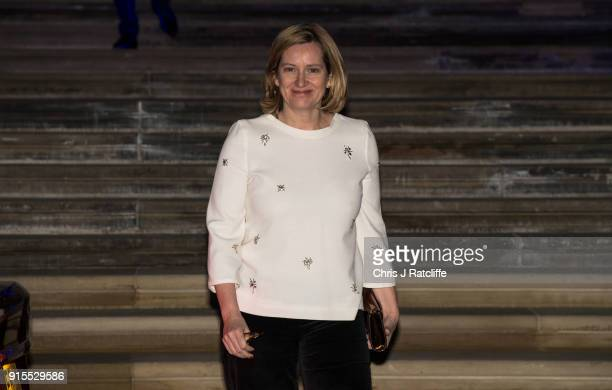 Home Secretary Amber Rudd leaves the Conservative party Black and White Ball at Natural History Museum on February 7 2018 in London England The ball...