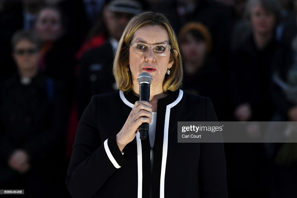 Home Secretary Amber Rudd MP speaks during a candlelit vigil at Trafalgar Square on March 23, 2017 in London, England. Four People were killed in Westminster, London, yesterday in a terrorist attack by 'lone wolf' killer Khalid Masood, 52. Three of the victims have been named as PC Keith Palmer, US tourist Kurt Cochran from Utah and Mother of two Aysha Frade.