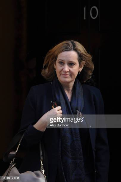 Home Secretary Amber Rudd pictured on Downing Street ahead of the weekly cabinet meeting on February 27 2018 in London England