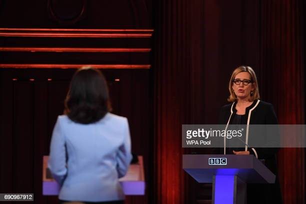 Home Secretary Amber Rudd takes part in the BBC Election Debate hosted by BBC news presenter Mishal Husain as it is broadcast live from Senate House...