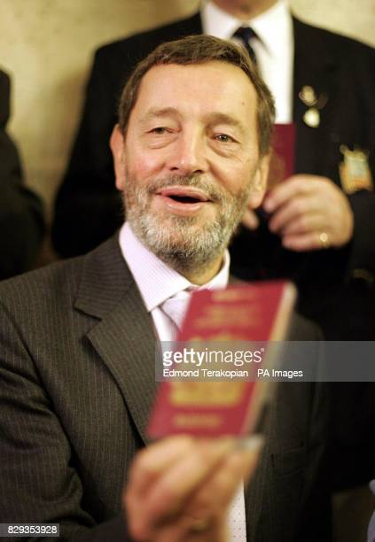 Home Secretary David Blunkett joins wartime veterans to announce the implementation of free passprts for all British Citizens born on or before 2...
