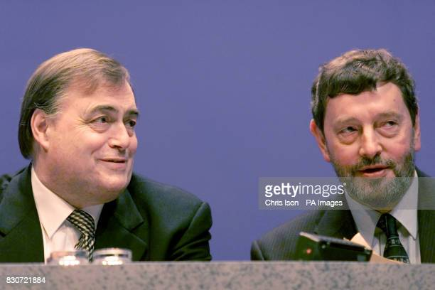 Home Secretary David Blunkett sits with Deputy Leader John Prescott before addressing delegates on the final day of the Labour Party Conference in...
