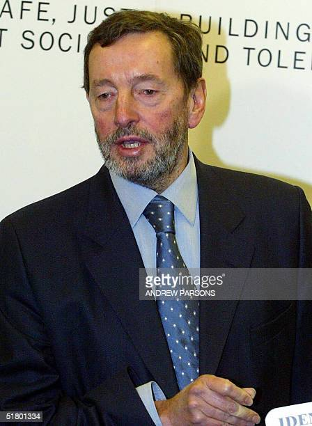 Home Secretary David Blunkett speaks during the launching his proposals for a compulsory identity card at the Home Office 29 November, 2004. British...