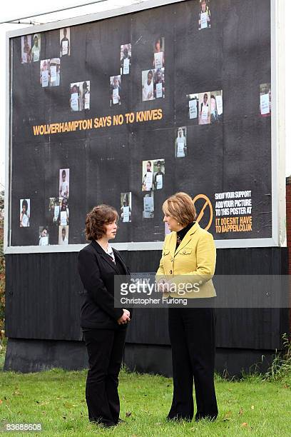 Home Secretary Jacqui Smith and 15-year-old Hannah Cooper chat as they launch the next phase of the national anti-knife billboard campaign on...