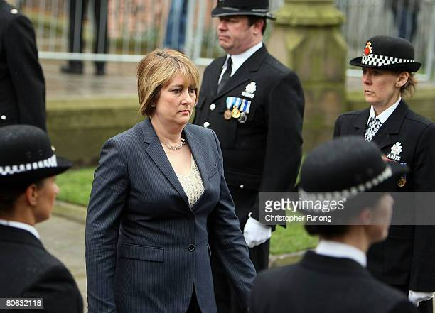 Home Secretary Jacqui Smith arrives at Manchester Cathedral for the thanksgiving service of Manchester's Chief Constable Michael Todd, April 11, 2008...
