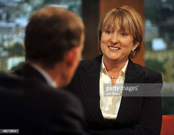 Home Secretary Jacqui Smith being interviewed by Andrew Marr on the Andrew Marr Show