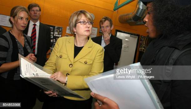 Home Secretary Jacqui Smith speaks with Jay Hayles during a visit to the Fairbridge youth referral centre in Kennington south London