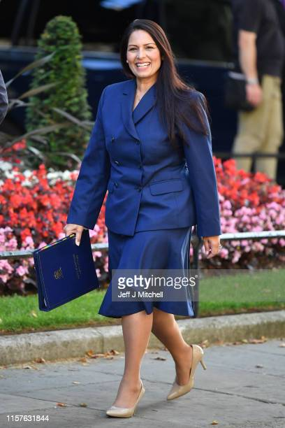 Home Secretary Priti Patel arrives at 10 Downing Street on July 25, 2019 in London, England. Britain's New Prime Minister, Boris Johnson, appointed...
