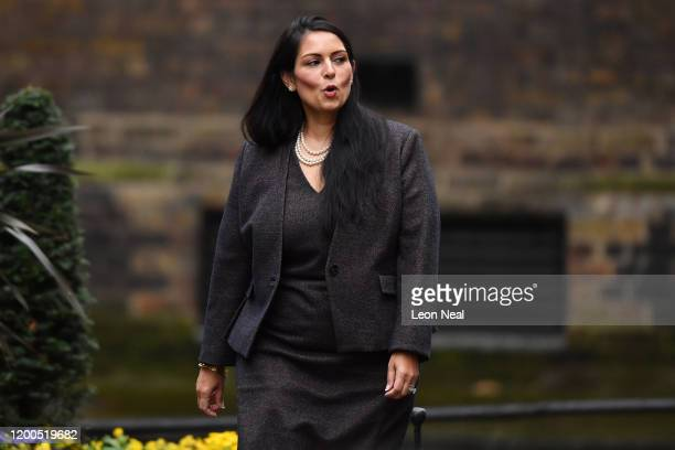Home Secretary Priti Patel arrives at Downing Street on February 13 2020 in London England The Prime Minister makes adjustments to his Cabinet now...